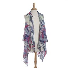 Wholesale lightweight flowy vest blue purple pink floral pattern polyester One f