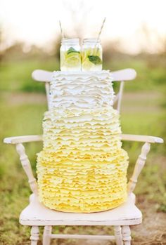 Lemon Yellow Ombre Ruffle Cake. mmm! See more at: http://sweetvioletbride.com/2013/03/ombre-wedding-cakes/
