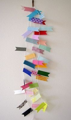 Pretty Party Bunting C - Rainbow. $17.00, via Etsy. Washi tape + garlands = awesomeness