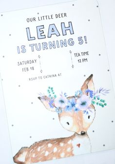 Woodland Animal Tea Party by The Reinvented Housewife! Girls birthday party deer fawn bunny rabbit fox owl raccoon girly feminine floral felt flowers paper flowers deer ear headbands custom watercolor party invitation photo backdrop pink beige lavender lilac turquoise mint aqua