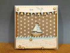 Stempelfrida: Taufkarte mit Segelboot