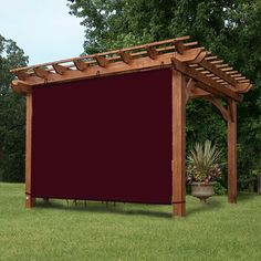 Ez2hang Waterproof 5x4ft Wine Red Alternative solution for Roller Shade,Exterior Privacy Side Shade Panel for Pergola, Patio