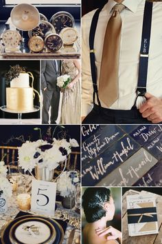 Navy & Gold wedding inspiration board