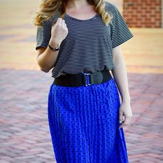 LuLaRoe pattern mixing - striped classic tee and Jill skirt   Shop for your own at www.facebook.com/groups/lularoejessicarose