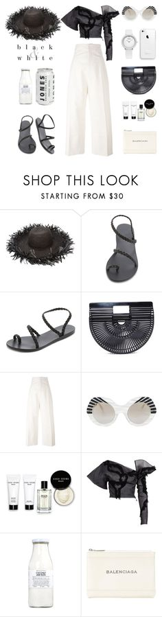 """Unbenannt #958"" by fashionlandscape ❤ liked on Polyvore featuring Sensi Studio, Ancient Greek Sandals, Cult Gaia, Jacquemus, Cutler and Gross, Bobbi Brown Cosmetics, Maticevski, Rituals and Balenciaga"