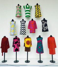 marimekko exhibition vintage fashion style color photo print ad model magazine mod 60s mini dress red yellow green black