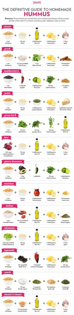 13 Different Ways to Make Hummus by Shape Magazine. Hummus is a healthy, delicious dip and super easy to make. Whip up a variety of flavors with this handy infographic of recipes for hummus Appetizer Recipes, Snack Recipes, Cooking Recipes, Easy Recipes, Avacado Appetizers, Prociutto Appetizers, Dip Recipes, Elegant Appetizers, Mexican Appetizers