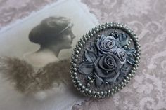 Grey vintage inspired victorian style romantic floral cameo brooch one of a kind handmade textile jewelry with silk ribbon embroidered roses by Virvi on Etsy