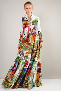 Stella Jean's flared island-print silk dress. [Photo by Kyle Ericksen]