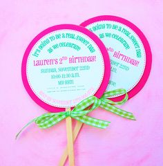 lollipop invite, could have round stickers with info on made up and then diy the rest