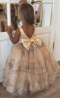 4ada1cdc2 gold sequined flower girl dress, long flower girl dress, flower girl dress  with bow in the back