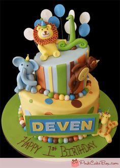 Omgggggg im in love!!! cutest jungle/zoo animals theme cake