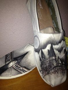 """I call them """"Harry Zapotters""""! Harry Potter shoes I painted with canvas paint pens."""
