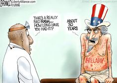 Hillary Clinton's political career has been like a bad rash on the body politic as shown by cartoonist A.F. Branco.