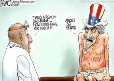 Hillary Clinton's political career has been like a bad rash on the body politic as shown by cartoonist A.F. Branco.