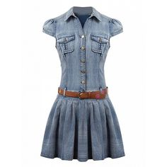 Choies Blue Shirt Collar Cap Sleeve Skater Denim Dress With Belt ($50) ❤ liked on Polyvore featuring dresses, short dresses, blue, mini skater dress, short skater dress, short blue dresses, cap sleeve skater dress and denim skater dress