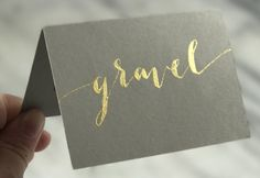 GRAVEL / light gray place cards modern calligraphy with