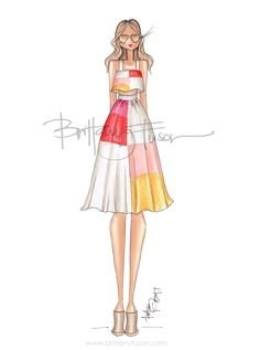 two piece set | squares | fashion illustration | Brittany Fuson