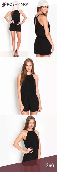 Mock Halter Keyhole Back Elastic Waist Romper 5 ⭐️ rated!  Show off a little skin in this cute, versatile romper. Figure flattering elastic waist and a flirty keyhole back design. Dress it up with heels or go casual with sandals. Order a size up if you prefer a relaxed fit.  ❌ Sorry, no trades.  jumpsuit playsuit romper  fairlygirly fairlygirly Pants Jumpsuits & Rompers