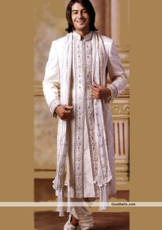 Sherwanis:R1P163 | Graceful White Groom Sherwani
