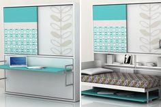 Solution for Small Space Bedroom : Wall Bed Design : Poppi Ponte Horizantal Space Saving Murphy Bed Maximize Small Space, Small Space Office, Small Space Living, Small Rooms, Small Spaces, Fold Out Beds, Folding Beds, Murphy Bed Plans, Murphy Beds