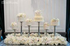 Mini wedding cakes, cake stands, elevated wedding cakes, bed of flowers, wedding sweet table LUXURIOUS BLACK & WHITE WEDDING IN TORONTO www.elegantwedding.ca