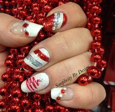 Day 344: Candy Canes & Silver Lanes Nail Art - - NAILS Magazine
