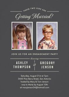 Old Photos Engagement Party Invitation - Add old photos to your engagement party invitation. Unique modern design. Customize to make it perfect for you!