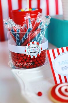 Circus Party for Boys Printable Cupcake Topper Labels by The TomKat Studio