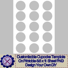 Cupcake Template Full Sheet 8.5x11 Customizable DIY Printables - $1.99 : ScrapPNG, Digital Craft Graphics
