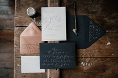 Deep Blues, Cool Greys, Coppers : Custom Invitation Suite by Old City Mailroom