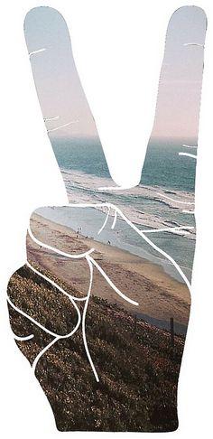 Peace Hand Beach Good Vibes Tumblr Vintage Love Instagram Print