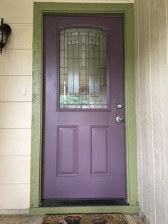 "Our purple front door! Sherwin Williams ""Expressive Plum."""