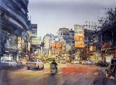 Direk Kingnok Watercolor artist    Yaowarat night time, Bangkok. 54 x 74 cm.