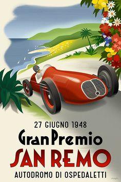 ... Poster, Vintage Italian Poster, Retro Italian, San Remo, Racing Cars