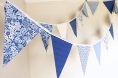 Floral blue bunting for hire, white and cream fabric flags, blue wedding decor, marquee decoration, wedding party - Make Easy Diy No Sew Bunting, Knitted Bunting, Doily Bunting, Vintage Bunting, Fabric Bunting, Bunting Ideas, Bunting Garland, Wedding Bunting, Wedding Decorations