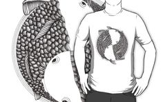 Pisces (black and white) Available in several models of #t-shirt and #hoodies.  Illustration of two fish inspired in zodiac. #zodiac #horoscope #pisces #piscis #japan #japon #koi #sign #signo #circle #ink #tinta #Art #illustration #inspiration #Drawing #Diseño #Dibujo #Digital #DigitalArt #DigitalColor #Creatividad #Creativity #animal #sea #mar #artwork #artist #tattoo