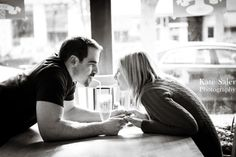 Cute soda pop shop engagement photo! Mount Pleasant engagement session