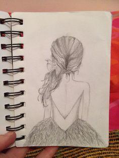 Girl from behind Doodles, Drawings, Art, Scribble, Sketch, Kunst, Sketches, Portrait, Donut Tower