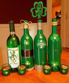 Painted bottles as St Patrick's Day Decor