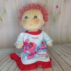 Vintage Kenner Doll Hugga Bunch Huggins Pink Hair Blue Eyes Popples Nightgown #Kenner