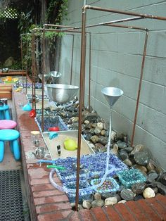 Outdoor water and sand play!    Water and sand play are very important pieces of learning because it helps children develop fine motor skills. Playing with the water and sand outdoors is good exposure. It allows them to connect their indoor activity to their outdoors.