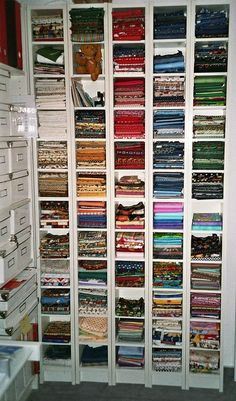 Sewing Fabric Storage Very cool idea to organize Fabric, they used CD shelves ; Sewing Room Organization, Craft Room Storage, Fabric Storage, Craft Rooms, Dvd Storage, Storage Units, Storage Ideas, Sewing Spaces, My Sewing Room
