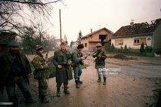 Members of the ''Arkan's Tigers'', Serb para-military group', patrol on November…
