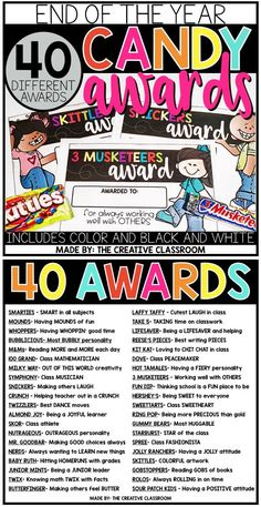 Use these fun and unique end of year awards with your class. This set includes 40 total awards for 40 different candy bars. The candy awards come in color and black and white options. Teacher Awards, Student Awards, Candy Bar Awards, Fun Awards, End Of Year Activities, Learning Activities, End Of School Year, Kindergarten Graduation, Student Gifts