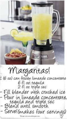 Easy margarita recipe! This is the recipe that I use, but I use less tequila. Freeze the left-overs (if any!) in 1/2 pint mason jars. Take from the freezer and they are ready to drink in 5 minutes. You can drink from jar or pour into a margarita glass. If you are drinking from jars, salt rim immediately after taking from freezer. DB
