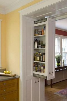 9 Startling Diy Ideas: Small Kitchen Remodel Mobile Home kitchen remodel industrial islands.Large Kitchen Remodel Dark Wood kitchen remodel mobile homes.Kitchen Remodel With Island L Shape. Smart Storage, Storage Ideas, Hidden Storage, Hidden Pantry, Storage Solutions, Hidden Kitchen, Extra Storage, Wall Storage, Small Pantry