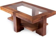 Ava Rectangular Coffee Table on OneKingsLane.com Practical for use, glass is easy to clean, the wood makes it stylish. Love the bottom shelf for storage.