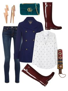 """""""Untitled #1711"""" by christawallace on Polyvore featuring Hunter, rag & bone, Laura Ashley, Equipment, Bee Goddess, Gucci and Madewell"""