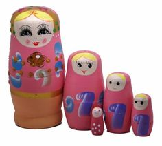 Sonstige Winterworm Set of 5 Cutie Cartoon Animal Nesting Dolls Matryoshka Madness Rus...